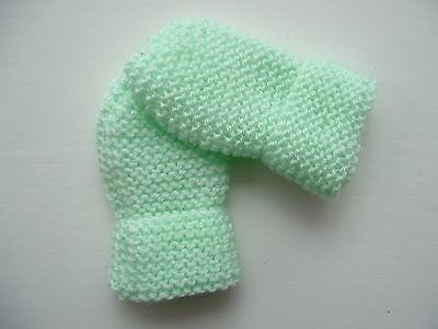 Children's Hand Knitted Muffole, Verde Chiaro, Lana Acrilica, 2-4 Anni Nuovo-mostra Il Titolo Originale Avere Una Lunga Posizione Storica