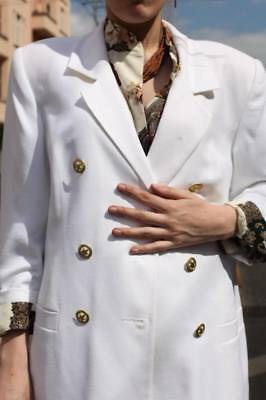 Romantico Bel Jacket Blazer Giacca Bianco Doppiopetto Oro Bottoni 90er True Vintage 90´s-mostra Il Titolo Originale I Clienti Prima Di Tutto