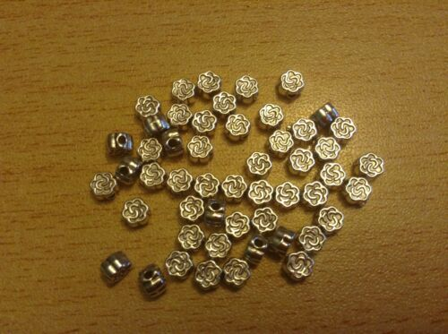 Antique silver small rose flower spacer beads 4mm x50 spacers UK seller C144