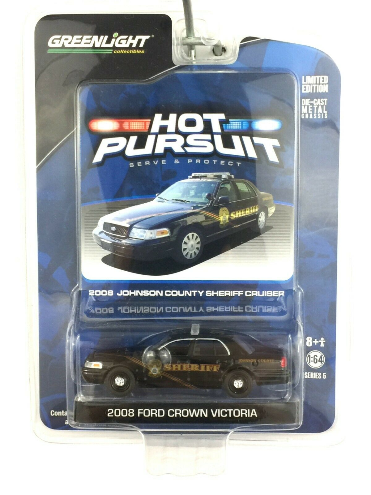 Greenlight Hot Pursuit Johnson County Sheriff 2008 08 Ford Crown Victoria 1 64