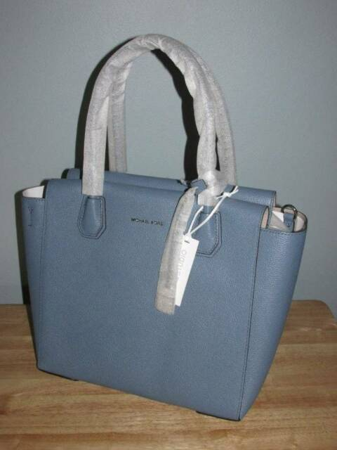 95274255f206 Michael Kors Mercer Studio Large Pebbled Leather Satchel Denim Blue Silver  NWT