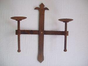 hecho-a-mano-Olvidado-Medieval-Gotico-Old-Antiguo-Rustico-Candelero-APLIQUE