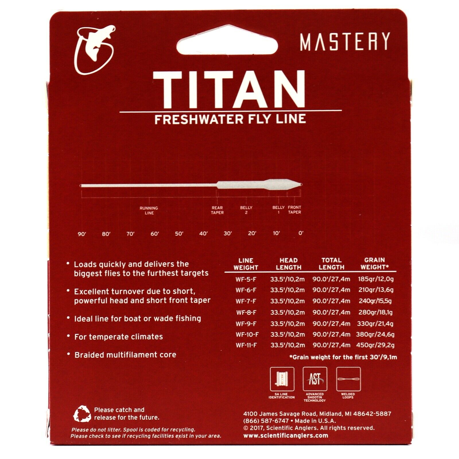 SCIENTIFIC ANGLERS MASTERY JUNGLE TITAN WF-8-F #8 WT FLOATING FLY LINE