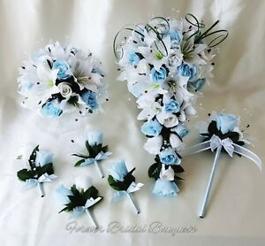 Artificial silk wedding flowers baby blue and white teardrop ...