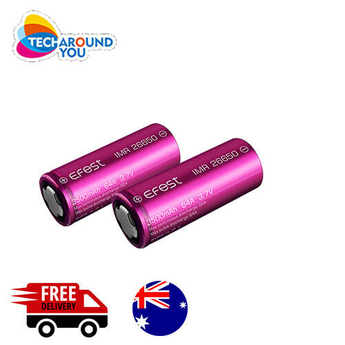 2x Efes IMR 26650 3500mAh 64A lithium Rechargeable High Drain Battery