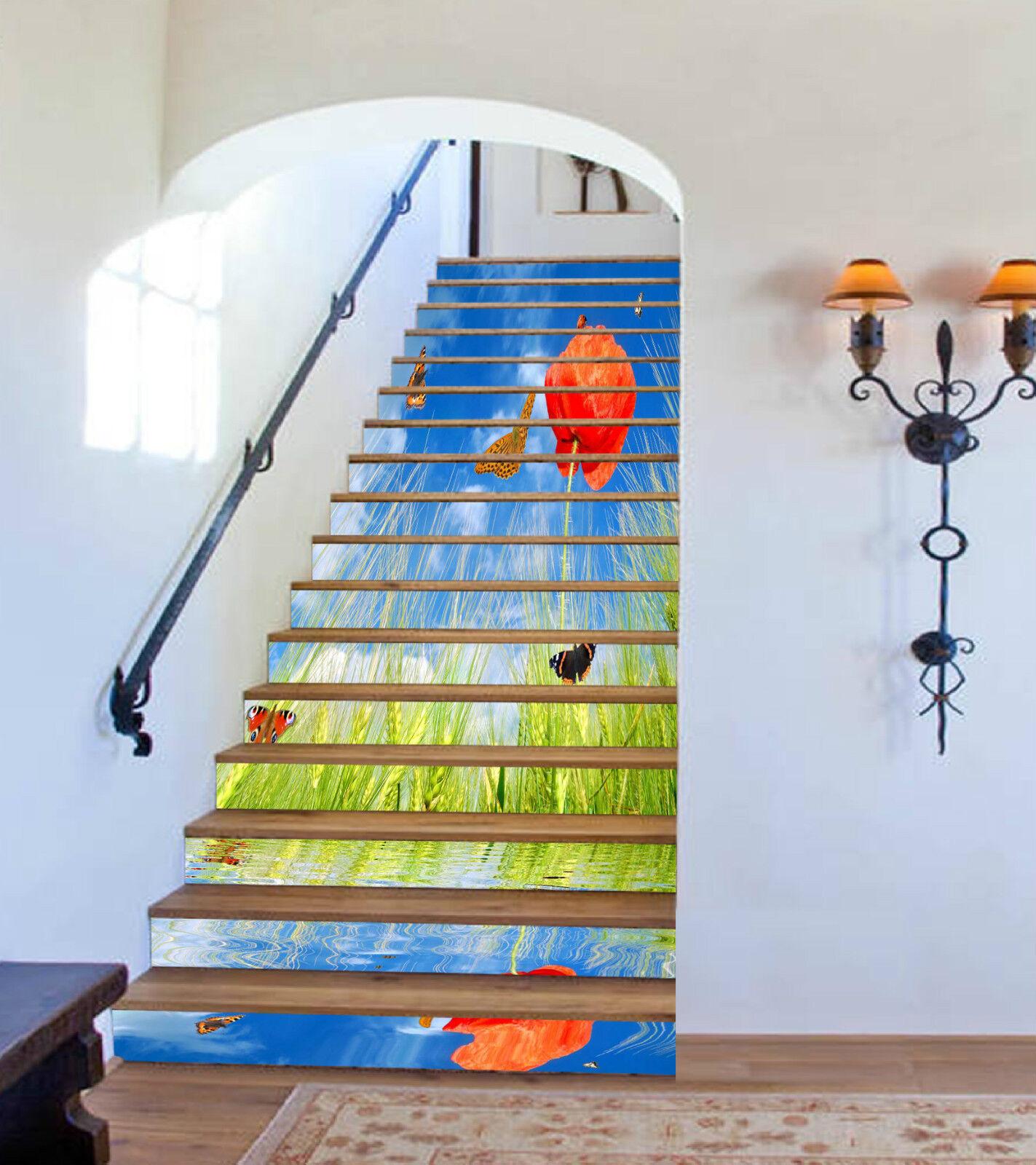 3D Weizen Blaume 309 Stair Risers Dekoration Fototapete Vinyl Aufkleber Tapete DE