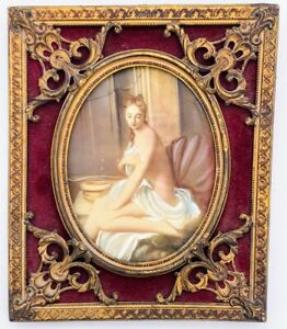 "Antique France Miniature Hand Painting ""Suzanne In The Bath"" by J.J. Henner"