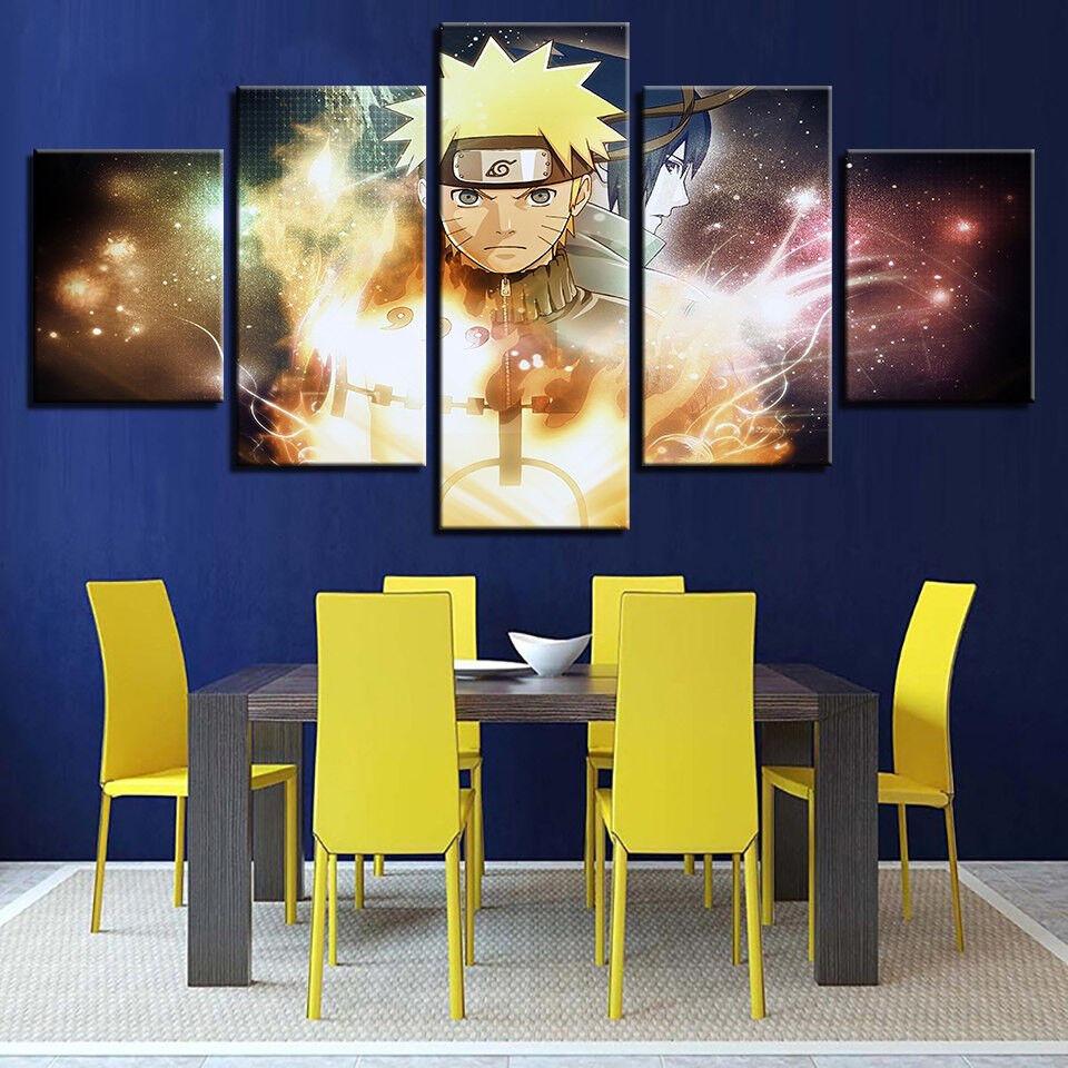 Naruto And Sasuke Cartoon Anime Poster 5 Panel Canvas Print Wall Art Home Decor