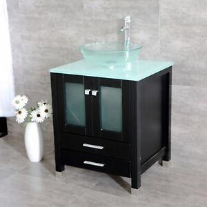 24 Bathroom Vanity Single Top Vessel Sink Bowl Cabinet W Faucet Mirror Combo Ebay