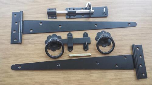 "18/"" Tee Hinge Ring Gate Latch Brenton Pad Bolt  Gate Kit Black Bzp"