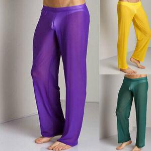 top-rated original united kingdom order online Details about Sheer men's Mesh Leggings Fitness Loose Long Pants Stretch  Lounge Yoga Underwear