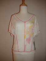 Womens Sinful By Affliction Kenzie White Top Striped 05kn425 $68 Xs S M L