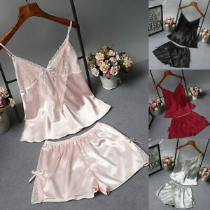 2PCS-Women-Sexy-Lingerie-Set-Lace-Satin-Bow-V-Neck-Cami-Shorts-Sleepwear-Pajama