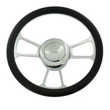 "14"" Chrome Split Tri Spoke Steering Wheel Half Wrap Leather & horn Button"