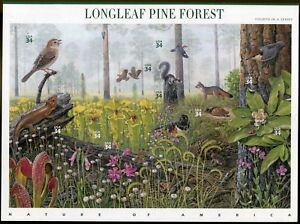 2002-LONGLEAF-PINE-FOREST-Nature-of-America-4-Mint-MNH-Sheet-10-34-Stamps-3611