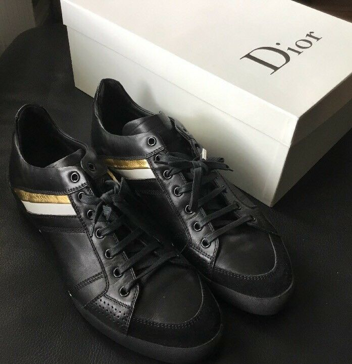 Mens Dior Black Leather Trainers, 44.5