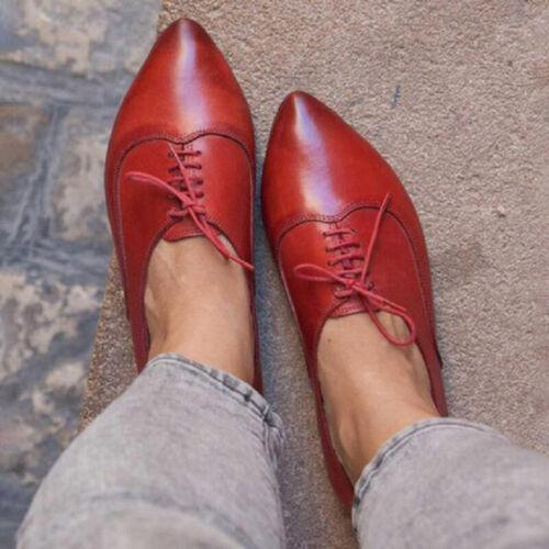 Damen Spitze Deckschuhe Brogue Halbschuhe Loafers Freizeit Schnürschuhe Schuhe