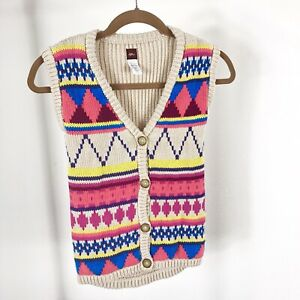 TEA-COLLECTION-Size-Medium-6-7-100-Cotton-Buttoned-Vest-Sweater-Multi-Colora346