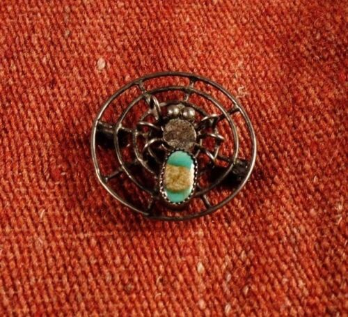 Vintage Sterling Turquoise Spider Spiderweb Pin