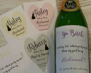 will you be my bridesmaid wine bottle stickers personalised ebay