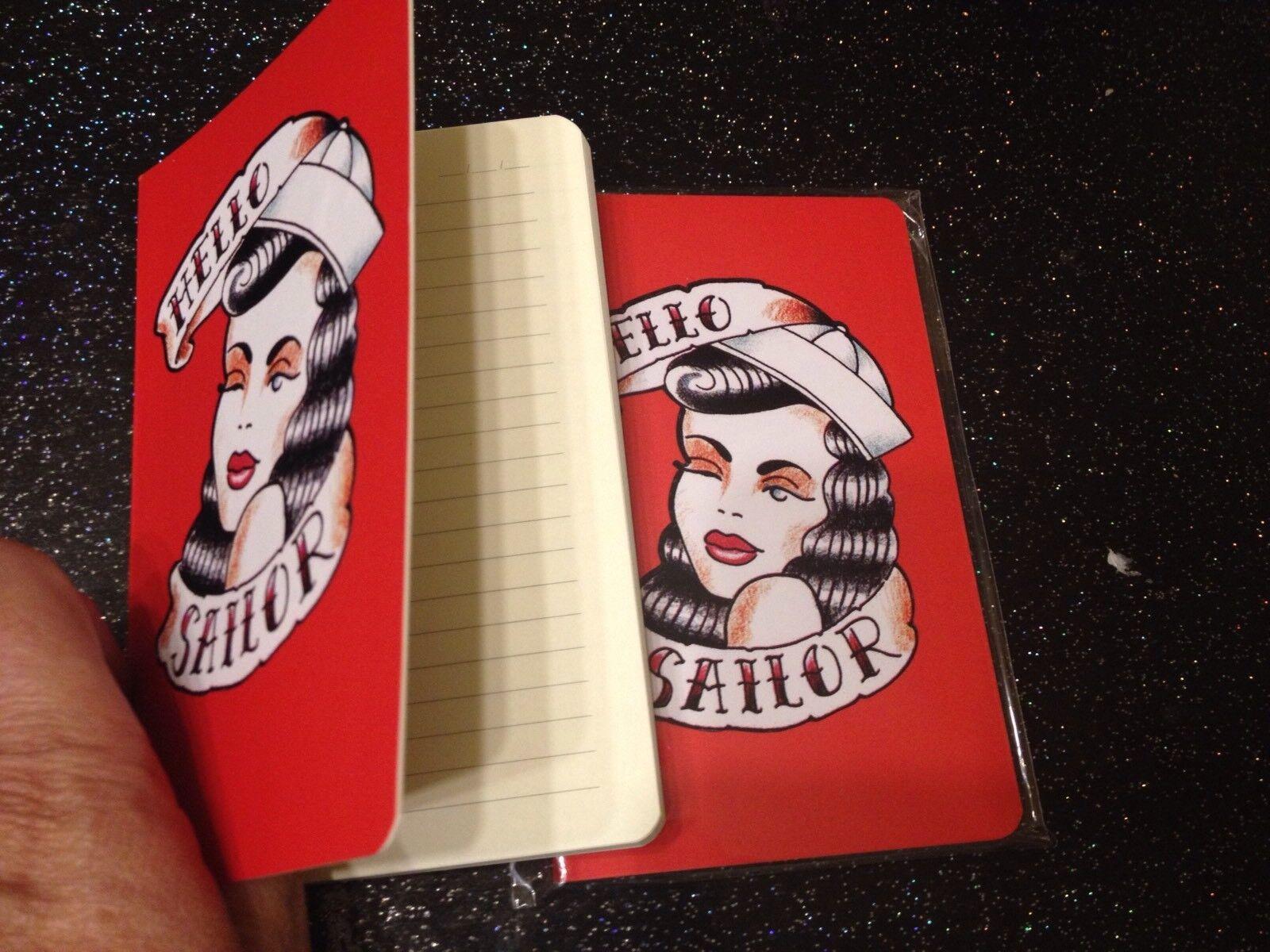 Rockabilly Tattoo 50's Pinup Girl A6 Notebook +Leopard Print Bag 2pc Gift Set