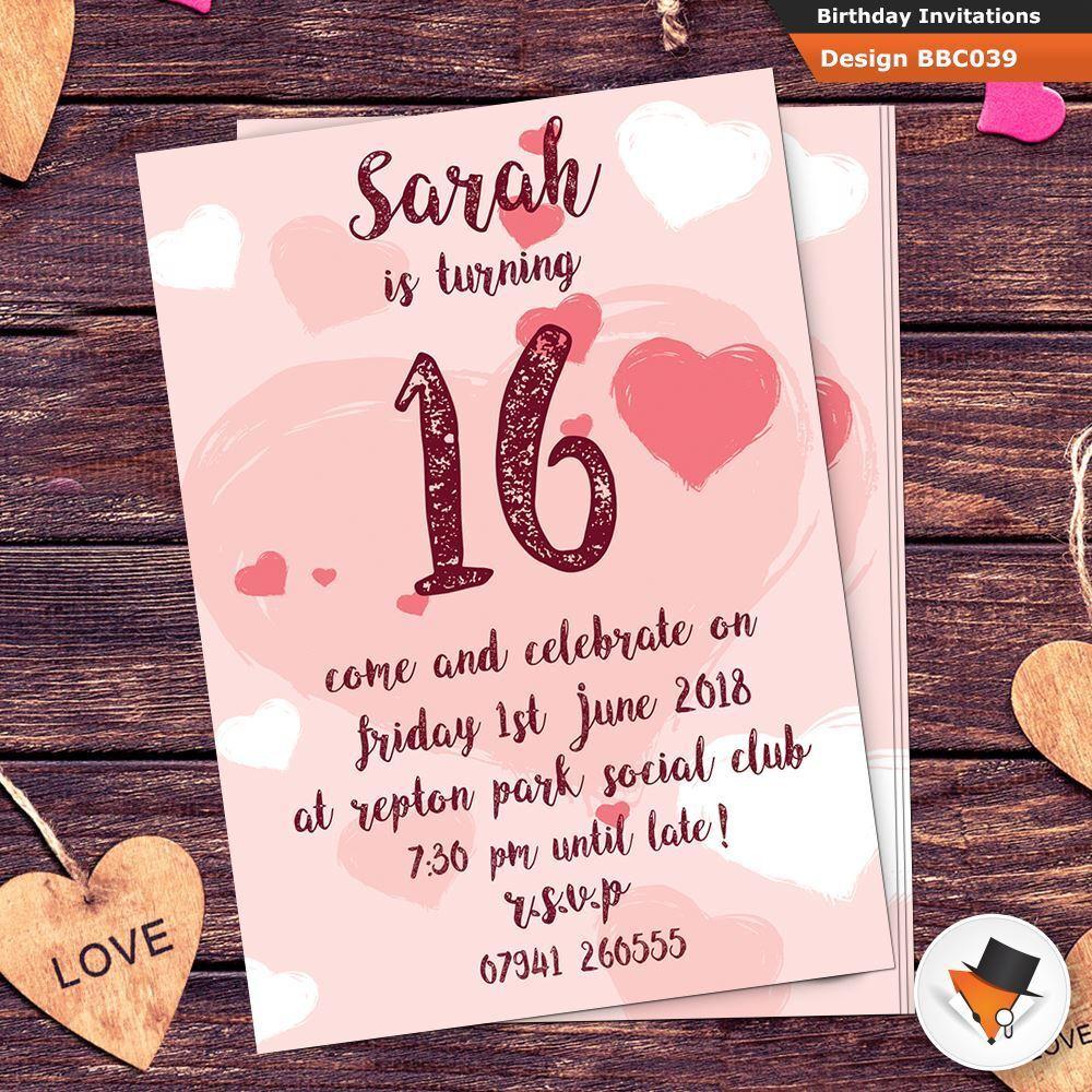 Personalised Girls Heart Kids Birthday Childrens Party Invitations Invites 1dfa79
