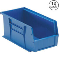 Stackable Plastic Storage Extra Thick Parts Shop Garage Utility Blue 12 Pack
