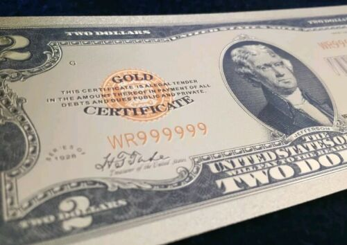 "/<MINT/> OLD STYLE /""GOLD/"" $2.00 GOLD CERTIFICATE Two DOLLAR Rep.*Banknote g"
