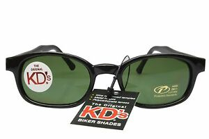 KD's Sunglasses Original Biker Shades Motorcycle Black Dark Green Lens 2126