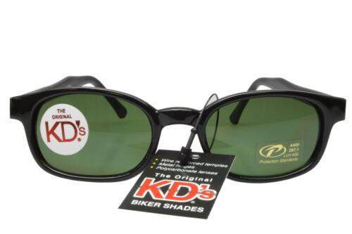 KD/'s Sunglasses Original Biker Shades Motorcycle Black Dark Green Lens 2126