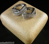 1 Ctw Criss Cross Round & Baguette Diamond Hoop Earrings In Sterling Silver