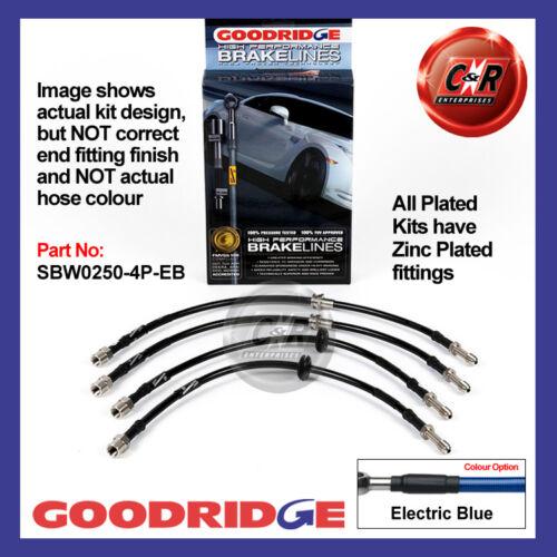 E46 BMW 3 Series Not M3 99-06 Goodridge Zinc El Blue Brake Hoses SBW0250-4P-EB