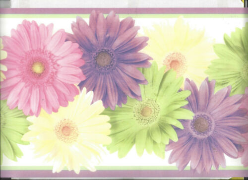 WALLPAPER BORDER PRETTY BRIGHT COLORED FLOWERS FLORAL NEW ARRIVAL FLOWER PURPLE