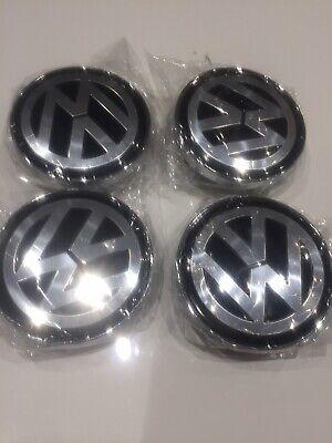 4 Centres de roue VW 60mm Cache moyeu Emblème Volkswagen Chrome