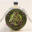 Celtic Triquetra Photo Cabochon Glass Tibet Silver Chain Pendant Necklace