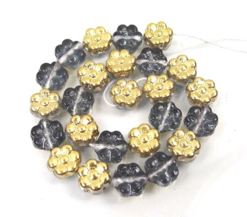 Gold//Montana Blue 8mm 25 Czech Glass Daisy Flower Beads