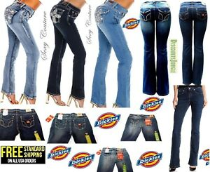 Dickies-amp-Sexy-Coutur-Womens-Blue-Bootcut-Jeans-Denim-flap-pocket-Stretch-Pants
