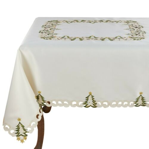 Fennco Styles Pandoro Collection Holiday Embroidered Christmas Tree Table Linen