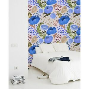 Poppy-wall-mural-Vintage-floral-Peel-and-stick-traditional-Removable-Wallpaper