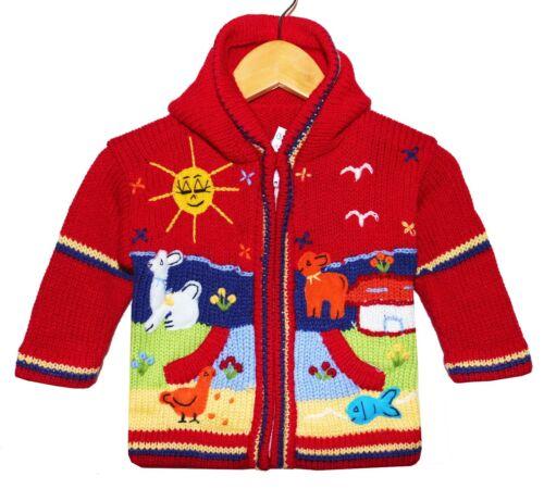 Baby Strickjacke rot dunkelrot Gr 68*74 Nr 1 Kapuze Inka Bauernhof-Tiere Peru