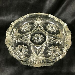 """Vintage Anchor Hocking Clear Glass Star of David 7-3/4"""" Ashtray"""