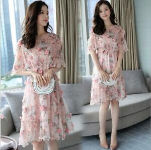 2020 Summer New Women S Korean Fashion Chiffon Dress Ladies Sweet Floral Skirt Ebay