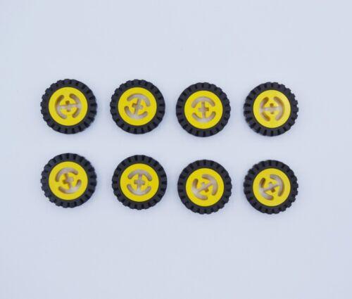 LEGO 8 x Räder Technic Rad Felge Reifen gelb yellow wheel 3482 3483 348326