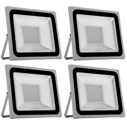 4X 100W LED Fluter Flutlicht Außen Sicherheit Garten Lampe Strahler IP65 Weiß