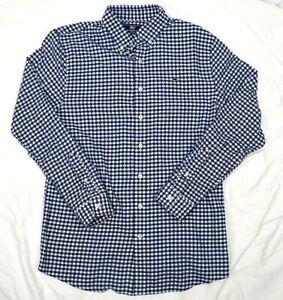 Vineyard-Vines-XL-Long-Sleeve-Blue-Checkered-Flannel-Button-Up-Whale-Shirt