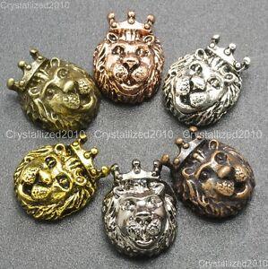 Solido-in-metallo-corona-Re-Leone-Bracciale-Collana-Perline-Ciondolo-Connettore-color-Argento-Oro