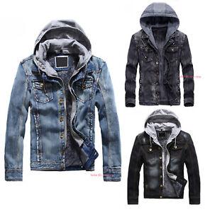 Men-Classic-Denim-Jacket-Fleece-Lined-Warm-Jeans-Coat-Long-Sleeve-Outwear-Hooded