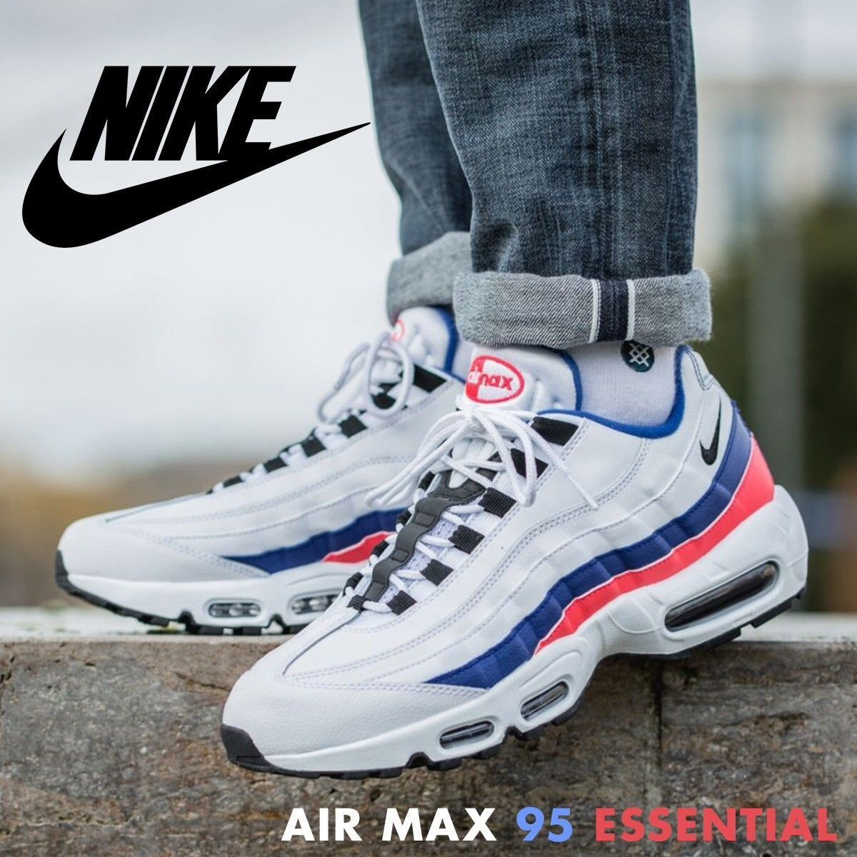 Nike Air Max 95 Essential Men's Ultramarine Solar Red shoes (749766-106) Size 13