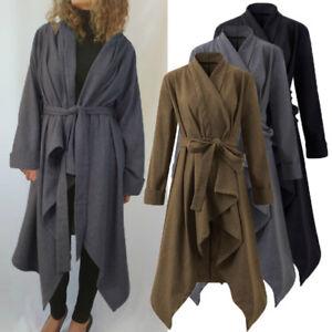 UK-8-20-Fashion-Women-Waterfall-Wool-Blend-Long-Trench-Coat-Jacket-Outwear-Belt