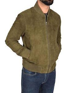 5c3378d78d Mens Goat Suede Bomber Jacket OLIVE GREEN Slim Fit Sports Varsity ...